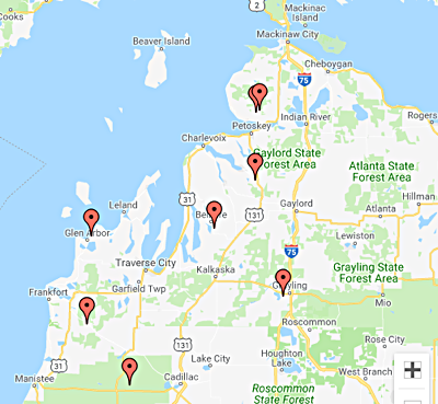 Northern Michigan Ski Map
