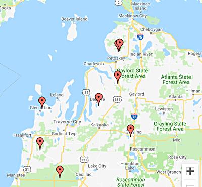 Northern Michigan Ski Map